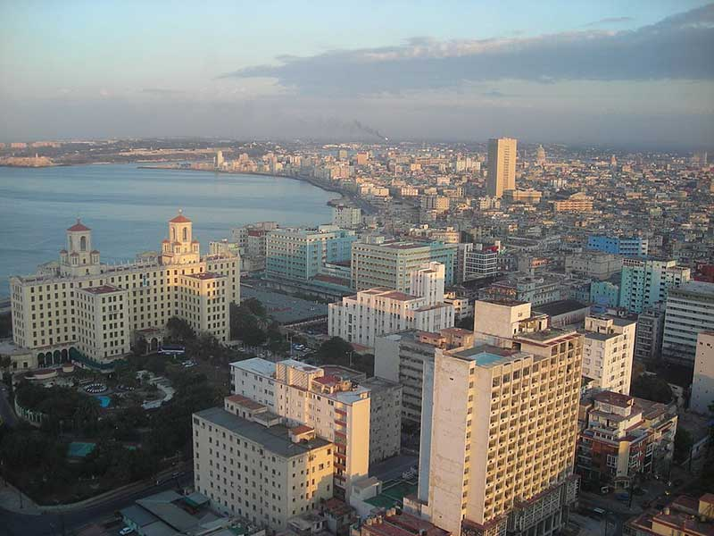 aerial view of the Malecon in Havana