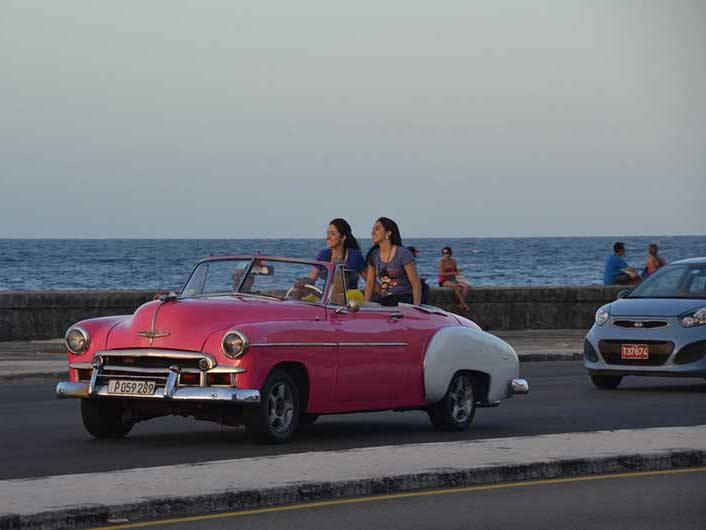 ride in a classic car along the Havana Malecon